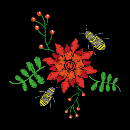 beautiful embroidery flower bees fly and berries natural pattern vector illustration