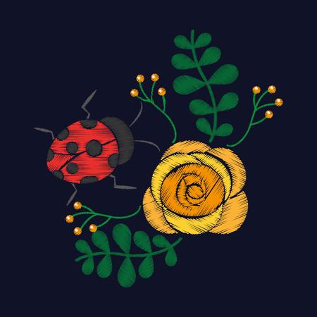花柄ベクトルイラストのための刺繍花とレディバグの装飾