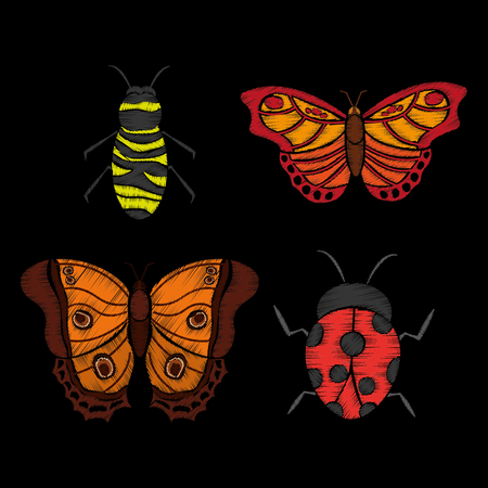 embroidery ladybug butterfly and bee textle design image vector illustration Illustration