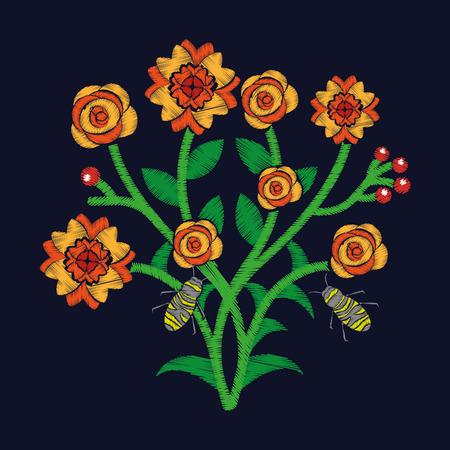 뭉치 꽃과 꿀벌 비행 자수 패션 트렌드 섬유 디자인 어두운 배경 벡터 일러스트 레이션