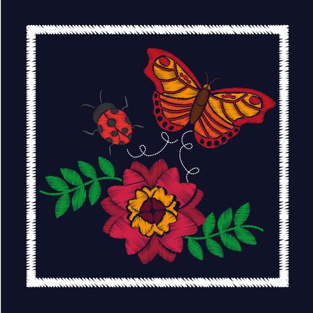 花柄ベクトルイラストのための刺繍花と蝶レディバグオーナメント