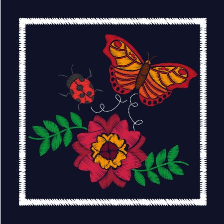 embroidery flower and butterfly ladybug ornament for the floral pattern vector illustration