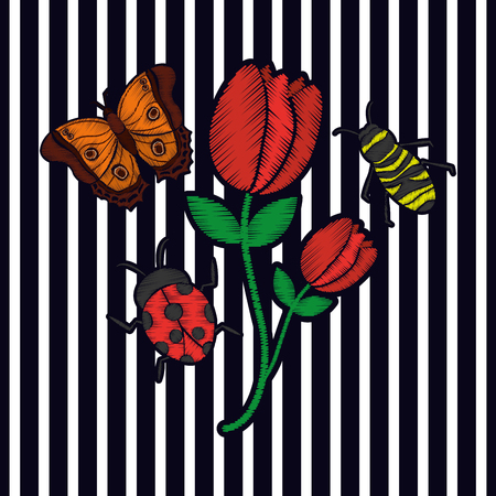 embroidery flower butterfly and bee ladybug arrangement fashion print textile stripes background vector illustration