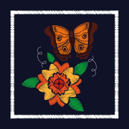 花柄ベクトルイラストのための刺繍バラと蝶の装飾