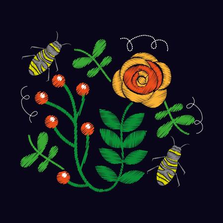 자 수 장미와 꽃 패턴 벡터 일러스트 레이 션에 대 한 꿀벌 장식