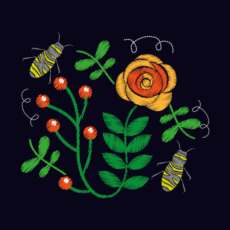 embroidery roses and bee ornament for the floral pattern vector illustration