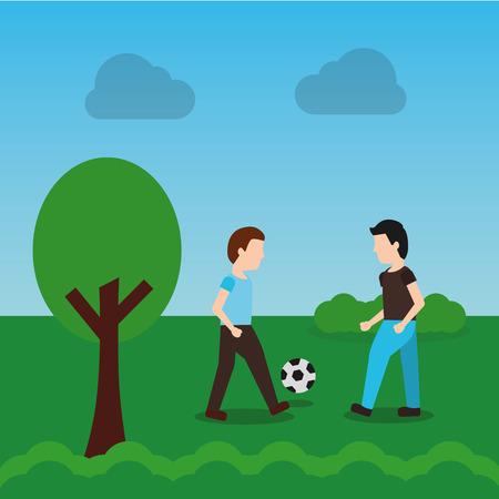 mannen voetballen in het park boom landschap cartoon vectorillustratie