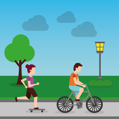 woman in skateboard and man riding bicycle in the park with lamp tree landscape   vector illustration
