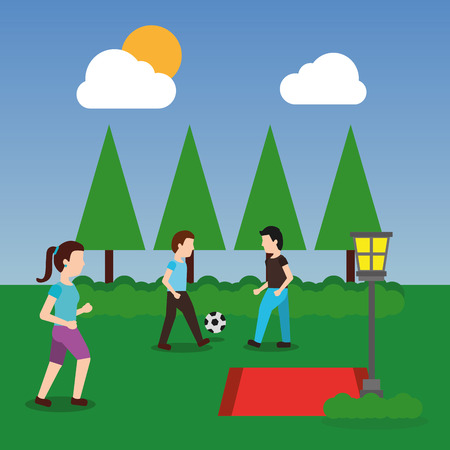 people at park having fun playing and making sport with ball landscape vector illustration
