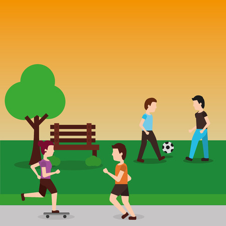 Man riding a bicycle Young man sitting on the bench and working with laptop and Running girl in the park. Vector flat style illustration