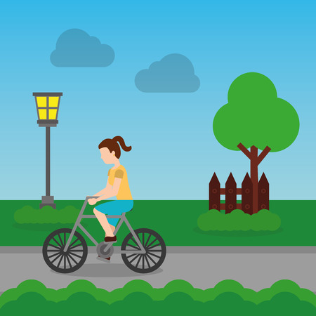 cheerful woman riding a bike on a park with tree fence and road vector illustration
