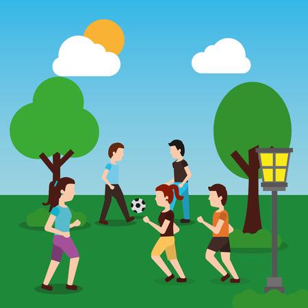 Jovens no parque cara meninas andando, homens jogando bola ilustração em vetor Foto de archivo - 90417784