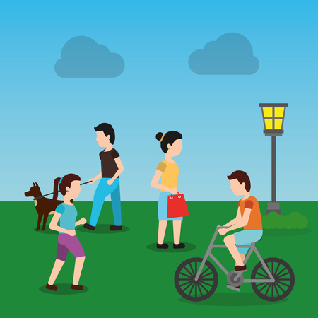 people in the urban park and relaxing in nature community and lifestyle vector illustration Illustration