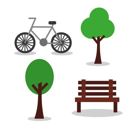 자전거 및 벤치 트리 공원 요소 이미지 벡터 일러스트 레이 션 일러스트