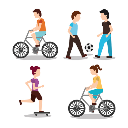set people various activities rider bicycle playing ball and skater scene vector illustration Illustration