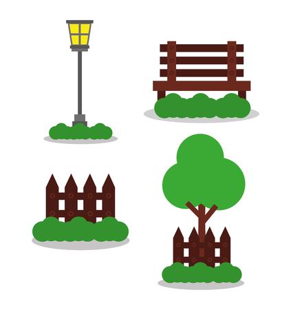 park element decoration lamp wooden bench fence tree vector illustration Stock Illustratie