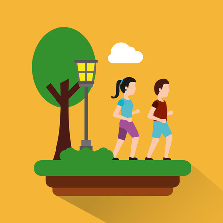 couple walking in park with meadow lamp tree theme park vector illustration