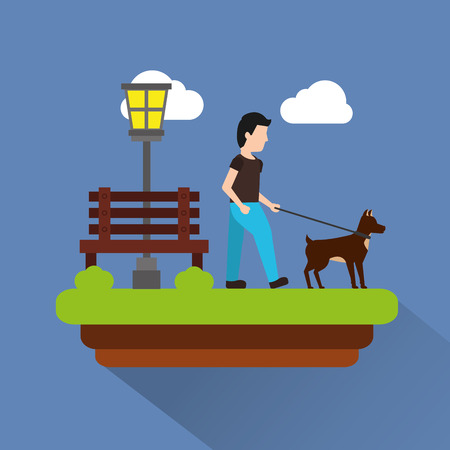 man walking their dog pet park scene with bench lamp light clouds vector illustration