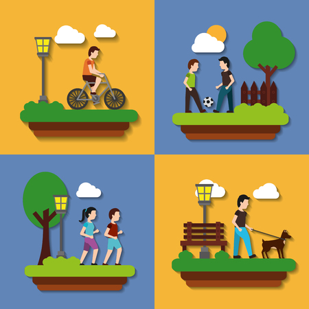 set people various activities couple runner walking with dog and rider bicycle vector illustration