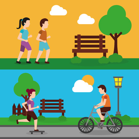 set people various activities couple runner and man riding bicycle, woman skater vector illustration Ilustrace