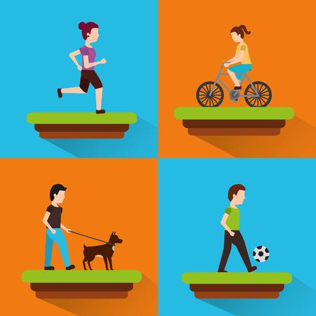 set people various activities runner rider bicycle walk playing ball vector illustration Illustration