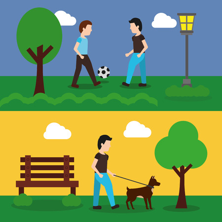 set of banner with scene the people in park playing and walking dog vector illustration Çizim