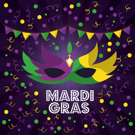 mardi gras carnival masks with feathers pennant confetti streamers vector illustration