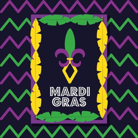 mardi gras card frame feathers decoration invitation vector illustration