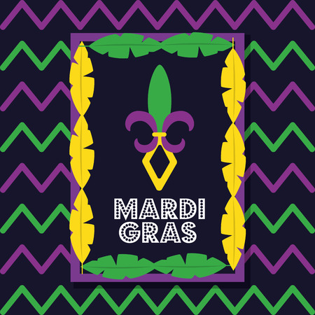 mardi gras card frame feathers decoration invitation vector illustration
