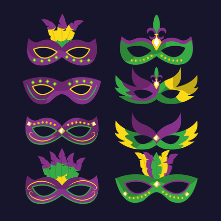 mardi gras carnival masks with feathers differents style vector illustration