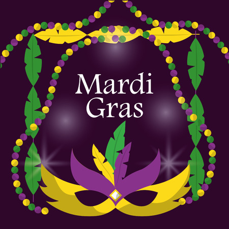 mardi gras carnival masks with feathers beads blur purple background vector illustration
