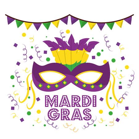 Máscaras de carnaval mardi gras con plumas garland confeti decoración fondo blanco ilustración vectorial Ilustración de vector