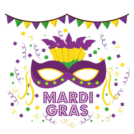 mardi gras carnival masks with feathers garland confetti decoration white background vector illustration