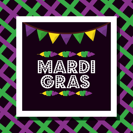 mardi gras poster dotted lettering garland feather decoration stripes colored vector illustration Illustration
