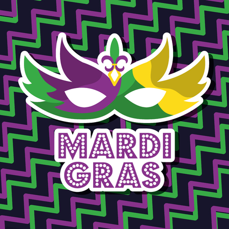 mardi gras carnival mask with feathers geometric background vector illustration