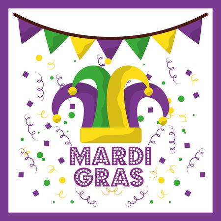 mardi gras jester hat confetti and bunting decoration vector illustration