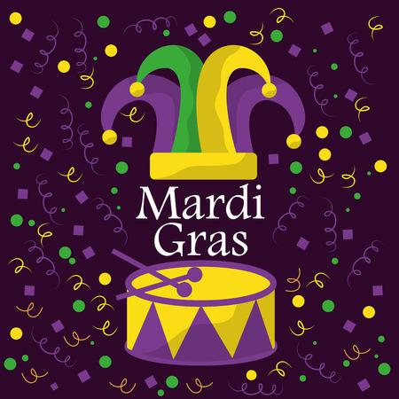 mardi gras jester hat drum musical confetti celebration vector illustration Ilustrace