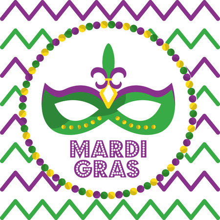 mardi gras carnival mask with feathers round beads and geometric background design vector illustration Ilustracja