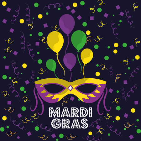 mardi gras carnival mask with feathers balloons and confetti vector illustration