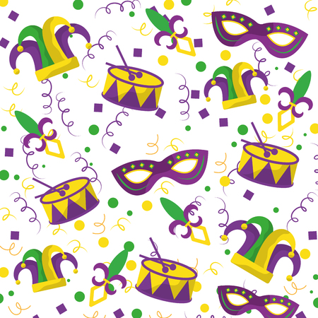 mardi gras fleur de lis mask jester hat and drum confetti vector illustration