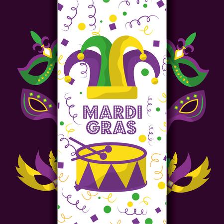 mardi gras nar hoed kaart groet drum maskers decoratie vectorillustratie
