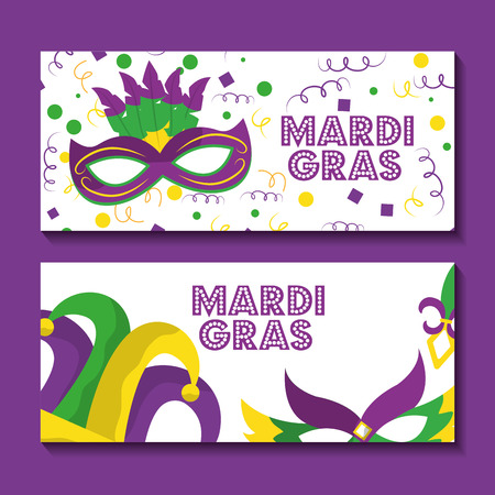 two mardi gras banner greeting card with mask and jester hat design vector illustration