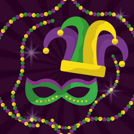 mardi gras mask with feathers and jester hat beads glitter vector illustration