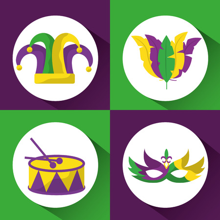 set colored mardi gras hat drum mask and feathers image vector illustration