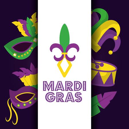 mardi gras card dot lettering flor de lis mask drum hat icons vector illustration Illustration