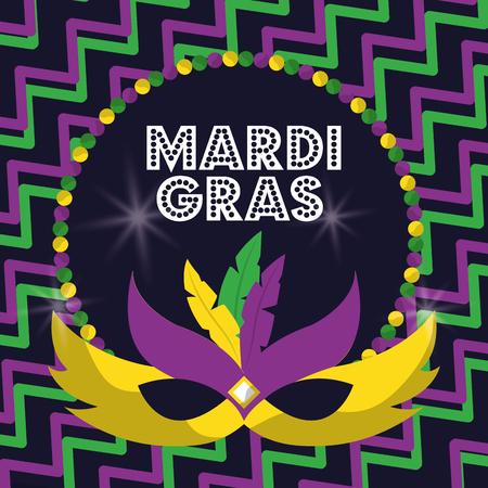 Carnaval maskers van mardi gras met veren kralen gloeiende ontwerp vectorillustratie Stock Illustratie