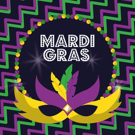 mardi gras carnival masks with feathers beads glowing design vector illustration