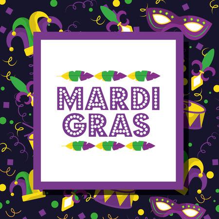 mardi gras invitation card celebration party design vector illustration