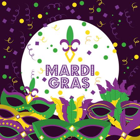 mardi gras poster en flyer met carnaval maskers serpentine en confetti op paarse achtergrond vector illustratie