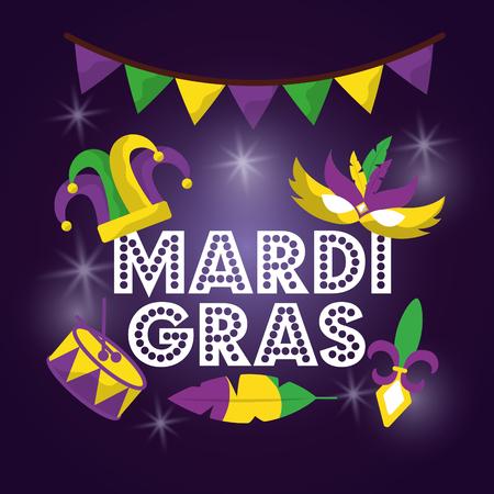 mardi gras carnival mask hat drum with glitter texture invitation vector illustration Illustration